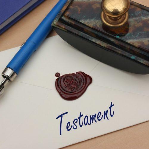 Testament - Enveloppe cachetée - Cachet de Cire - Manuscrit - Légataire
